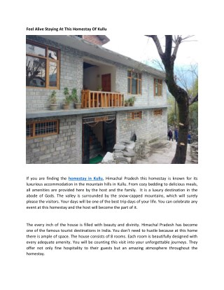Feel Alive Staying At This Homestay Of Kullu