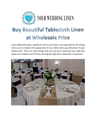 Buy Beautiful Tablecloth Linen at Wholesale Price