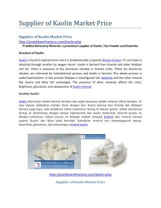 Supplier of Kaolin Market Price