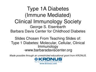 Type 1A Diabetes (Immune Mediated) Clinical Immunology Society