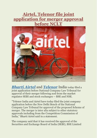 Airtel, Telenor file joint application for merger approval before NCLT