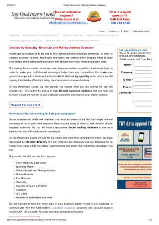 Get Accurate Doctors Mailing List