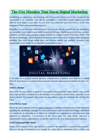 The Five Mistakes That Harm Digital Marketing