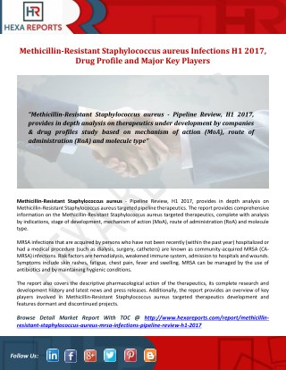 Methicillin-Resistant Staphylococcus aureus Infections H1 2017 Therapeutics Review Featuring Drug Profiles Analysis
