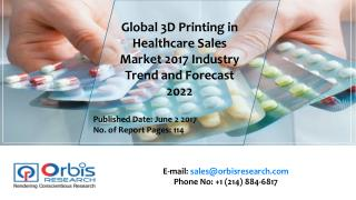 2017 Worldwide report On 3D Printing in Healthcare Sales Market Forecast 2022