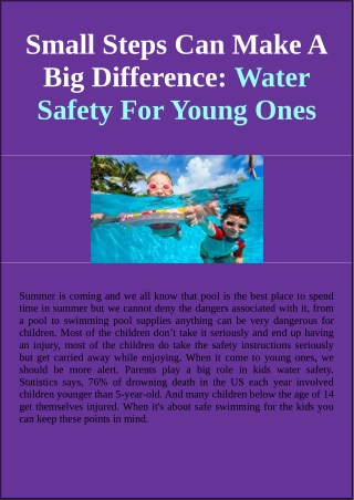 Small Steps Can Make A Big Difference: Water Safety For Young Ones