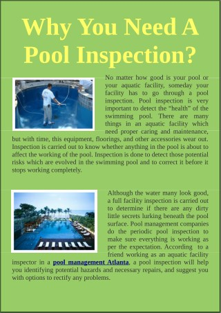 Why You Need A Pool Inspection?