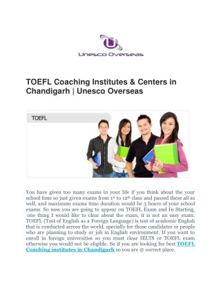TOEFL Coaching Institutes & Centers in Chandigarh | Unesco Overseas