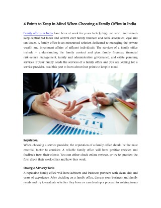 4 Points to Keep in Mind When Choosing a Family Office in India