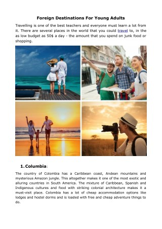 Foreign Destinations For Young Adults