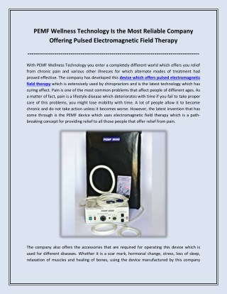PEMF Wellness Technology Is the Most Reliable Company Offering Pulsed Electromagnetic Field Therapy