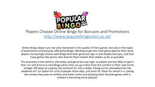 Players Choose Online Bingo for Bonuses and Promotions