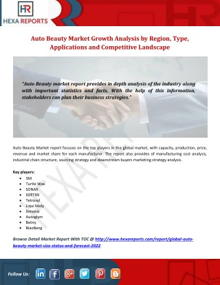 Auto Beauty Market Share, Market Size, Market Trends and Analysis 2017-2022