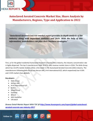 Autoclaved Aerated Concrete Market 2022 Growth Opportunities, Analysis and Forecasts Report
