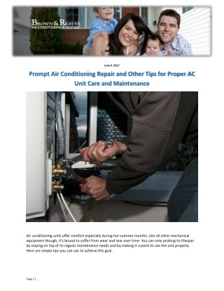 Prompt Air Conditioning Repair and Other Tips for Proper AC Unit Care and Maintenance