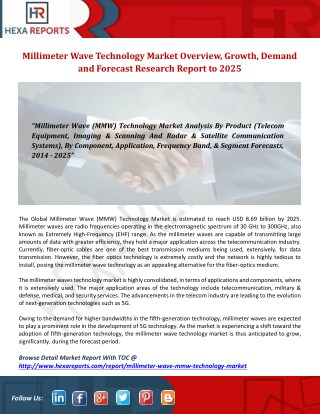 Millimeter Wave Technology Market Overview, Growth, Demand and Forecast Research Report to 2025