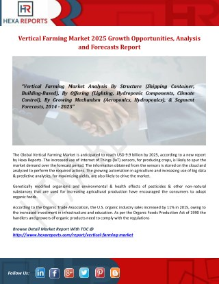 Vertical Farming Market 2025 Growth Opportunities, Analysis and Forecasts Report