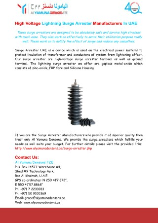 Lightning Surge Arrester Manufacturers In UAE