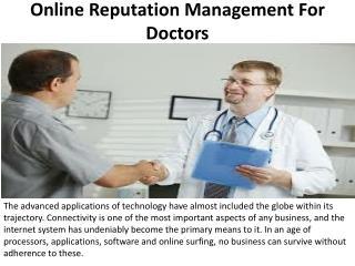 Online Reputation Management For Doctors