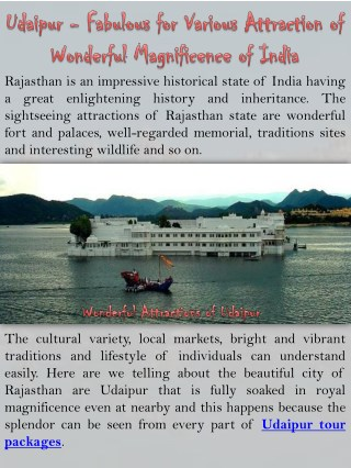 Udaipur - Fabulous for Various Attraction of Wonderful Magnificence of India