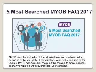 5 Most Searched MYOB FAQ 2017