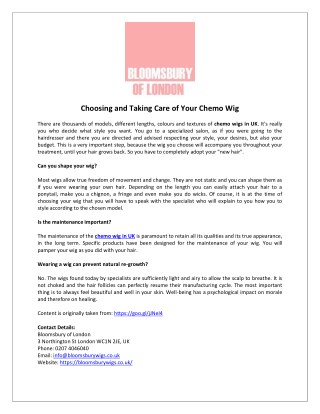 Choosing and Taking Care of Your Chemo Wig