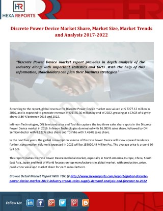 Discrete Power Device Market-Manufacturers, Suppliers & Exports Research Report and Forecast to 2022