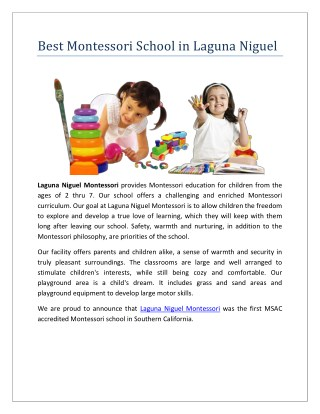 Best Montessori School in Laguna Niguel California