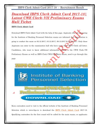 Download IBPS Clerk Admit Card 2017-18| Latest CWE Clerk–VII Preliminary Exams Hall Ticket