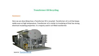 Transformer Oil Recycling