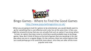 Bingo Games - Where to Find the Good Games