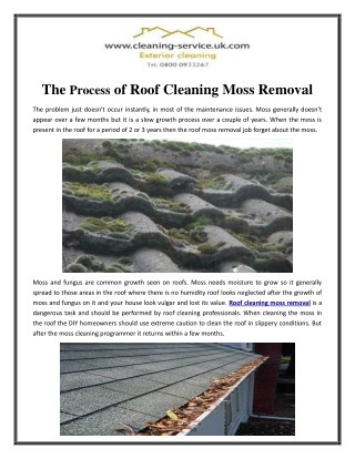 The Process of Roof Cleaning Moss Removal