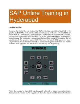 SAP Online Training in Hyderabad