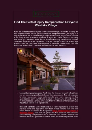Find The Perfect Injury Compensation Lawyer In Westlake Village