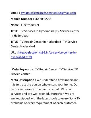 TV Services In Hyderabad  TV Service Center in Hyderabad