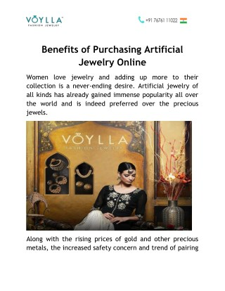 Benefits of Purchasing Artificial Jewelry Online in India