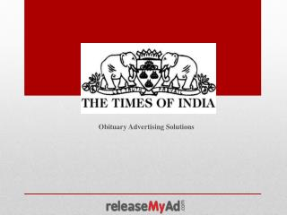 Times of India Obituary Advertisement Booking Online.