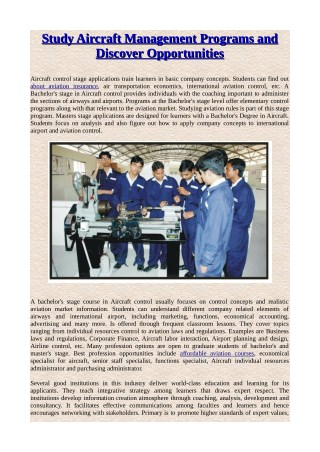 Study Aircraft Management Programs and Discover Opportunities