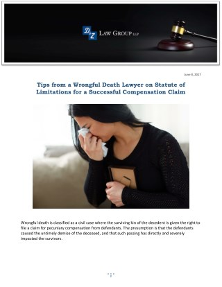 Tips from a Wrongful Death Lawyer on Statute of Limitations for a Successful Compensation Claim