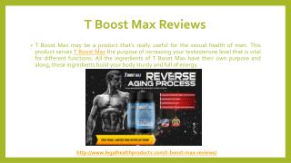 T Boost Max Testosterone Booster Reviews