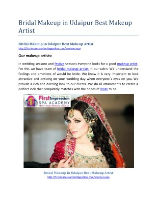 Bridal Makeup in Udaipur Best Makeup Artist