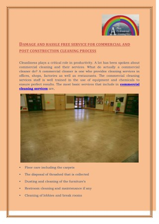 Hire The Professional Commercial Cleaning Services : A Plus Professional Cleaning