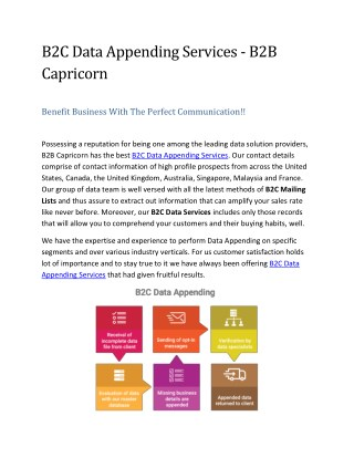 B2C Data Appending Services - B2B Capricorn
