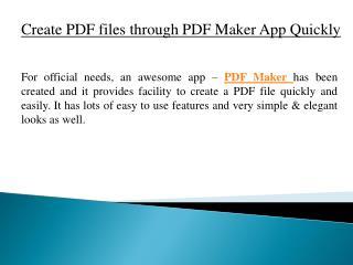 Create PDF Files Through PDF Maker App Quickly