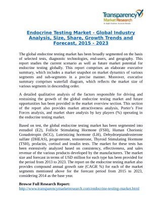Endocrine Testing Market will rise to US$ 12.8 Billion by 2023