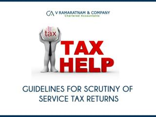Guidelines For Scrutiny of Service Tax Returns