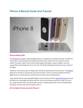 iPhone 8 Manual Guide And Tutorial