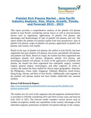 Platelet Rich Plasma Market is expanding at a CAGR of 15.4% from 2015 - 2023