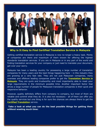 Why is It Easy to Find Certified Translation Service in Malaysia