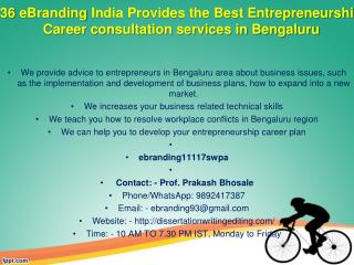 36 eBranding India Provides the Best Entrepreneurship Career consultation services in Bengaluru